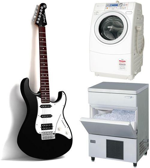 ギター、ドラム洗濯機、製氷機の画像