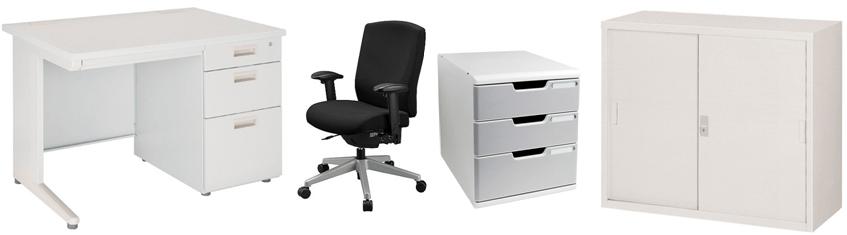事務机、事務椅子、事務用キャビネット