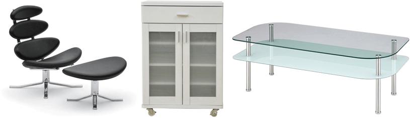 イス、食器棚、ガラステーブル